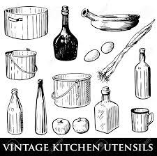 vintage kitchen utensils illustration. Beautiful Illustration Banque Du0027images  Dfinir Des Ustensiles De Cuisine Vintage On Vintage Kitchen Utensils Illustration