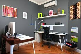 simple small home office ideas. Simple Home Office Ideas Grey Wall Color For Small With Sleek White Desk