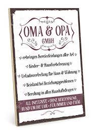 Amazonde Typestoff Holzschild Mit Spruch Oma Und Opa Gmbh Im