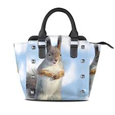 officials sunlome squirrel animal pattern womens leather tote shoulder bags handbags fashion