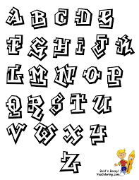 Graffiti alphabet chart coloring worksheet at yescoloring