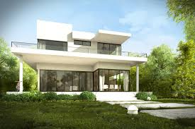modern house design with garden