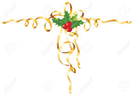 gold ribbon border christmas holly with gold ribbon royalty free cliparts vectors and