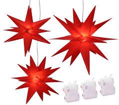 Weihnachtssterne 3er Set Led Sterne Rot Beleuchtet 252535 Cm Batteriebetrieben Weihnachten
