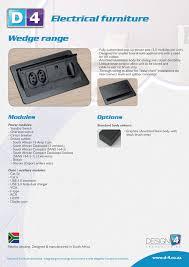 wedge range in desk electrical outlets datasheet