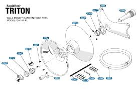 garden hose reel parts. Replacement Parts Exploded View For Rapid Reel Triton Model GH164-PL Garden Hose