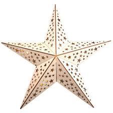 Weihnachtsstern Holz 10 Led Mit Fernbedienung Warmweiß Sternenmuster