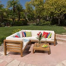 great deal furniture ravello 4piece outdoor acacia wood sectional set w wood outdoor sectional70