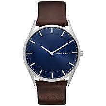men s watches men s designer watches john lewis buy skagen men s holst leather strap watch brown blue online at