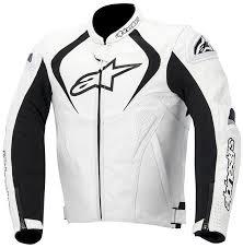 alpinestars jaws leather jacket black white motorcycle clothing uni