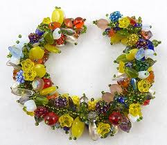 venetian glass flowers beads bracelet