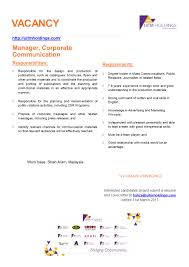 careers uitm holdings manager corporate communication