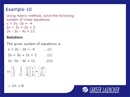 example 10 using matrix method solve the following system of linear equations x