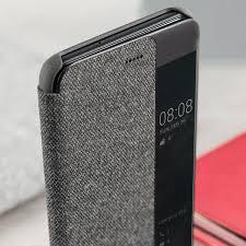 huawei 10 plus. official huawei p10 plus smart view flip case - light grey 10