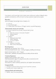 Resume Templates Free For High School Students Of Free Printable