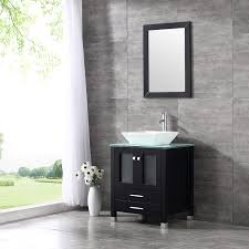 24 wood bathroom vanity cabinet tempered glass countertop ceramic sink w mirror com