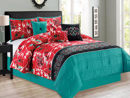 11 pc sachi tree branches silhouette leaves birds fl damask comforter curtain set turquoise blue red black king