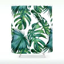 green shower curtain classic palm leaves tropical jungle green shower curtain green shower curtain liner