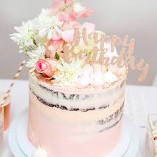 Happy Birthday Rose Gold Glitter Cake Topper 1 Pce