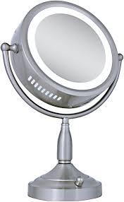 marvellous zadro satin nickel lighted round vanity mirror in lighted makeup mirror