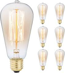 Edison Light Fixtures Canada 6 Pack Edison Light Bulb Antique Vintage Style Light Amber Warm Dimmable 60w 110v