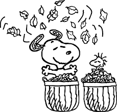 Small Picture Snoopy Autumn Coloring Page Wecoloringpage