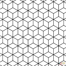 Small Picture Geometric Tessellation with Rhombus Pattern coloring page Free