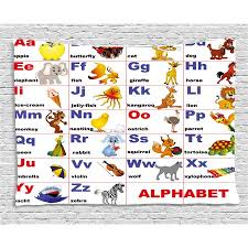 Educational Tapestry Animals Placed On Letter Of The Alphabet Teachers Chart Classroom Kindergarten Wall Hanging For Bedroom Living Room Dorm