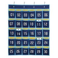 Details About 30 Pocket Numbered Classroom Cellphone Storage Calculator Holder Wall Door Mount