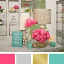 office color palettes. Pink, Silver, Gold And Aqua Color Palette   Photographer: Aaron Delesie Office Palettes