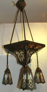arts and crafts period brass and carmel slag glass light fixture chandelier circ wall sconces and