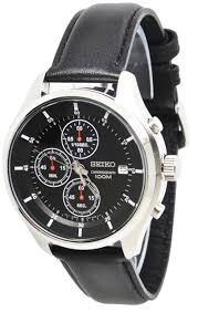 seiko mens black leather strap chronograph sport watch sks547 h7 seiko chronograph sks547 black dial black leather band men s watch