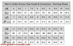 Under Armour Shoe Conversion Chart Under Armour Shoes Size Quadro Consult Com