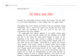 of mice and men relationship between george and lennie essay of mice and men essay prompts of mice and men relationship between marked by teachers picture