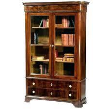 wood bookcase with glass doors cherry bookcases solid door bookshelf woo