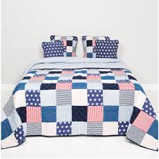 clayre eef bedsprei 140x220 stars en stripes blauw multi colour katoen