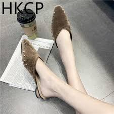 <b>HKCP Fashion</b> 2019 Spring Suede Rivet <b>Slippers</b> For <b>Ladies</b> ...