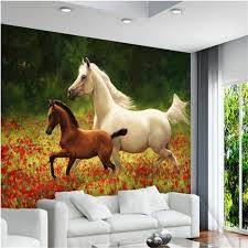 beibehang large custom wallpaper red flowers sea a white horse and a small brown horse painting