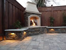 image of design outdoor stone fireplace kits with lamp