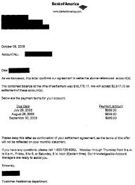 bank of america2 debt settlement letter