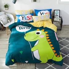 baby dino 2019 dark green dinosaur cartoon print cotton duvet cover set twin full queen bedding set flat sheet fitted sheet pillow cases