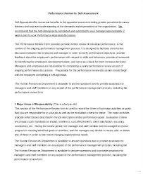 Performance Reviews Samples Self Assessment Example Ideal Capable Imagine Performance Review 8