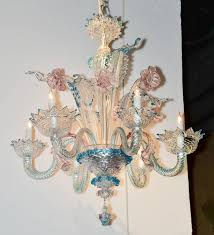 lovely antique blue and pink murano glass chandelier in good condition for in dallas
