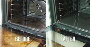 water baking soda and vinegar is all you need to make your oven sparkle