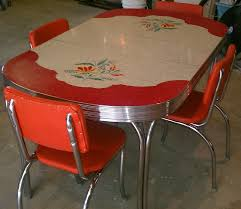 Vintage Kitchen Formica Table 4 Chairs Chrome Orange Red Whitegray