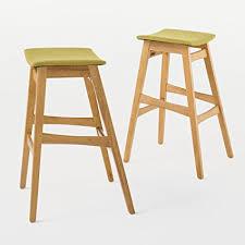 oster mid century green tea fabric oak finish bar stool set of 2