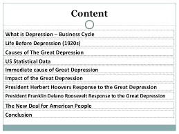 the great depression sarojini seth 2 content what is depression business cycle causes of the great