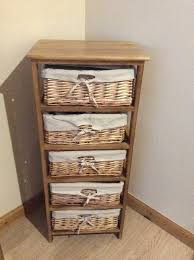 chest of 5 drawers with wicker baskets wooden storage unit
