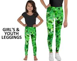 Patrick Size Chart St Patricks Day 1 Irish Party Clover Girls Youth Leggings Allow 2 Weeks To Receive See Size Chart Last Image