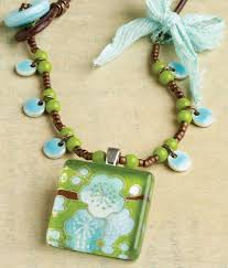 learn how to make this mixed media necklace with a glass tile in our free